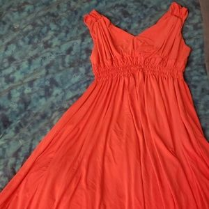 Evan Picone Coral Grecian Style Dress Gold Detail